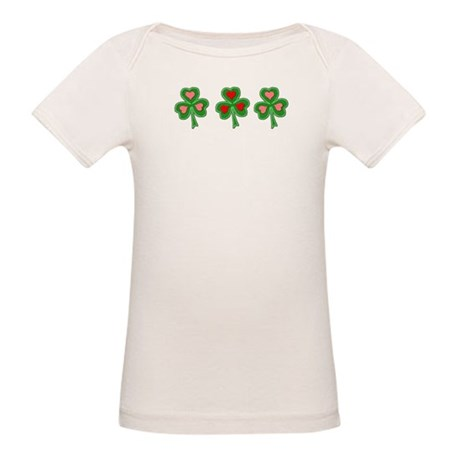 Shamrocks (pink and red heart Organic Baby T-Shirt