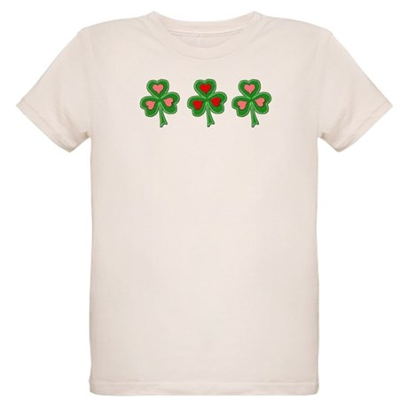 Shamrocks (pink and red heart Organic Kids T-Shirt