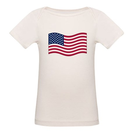 US Waving Flag Organic Baby T-Shirt