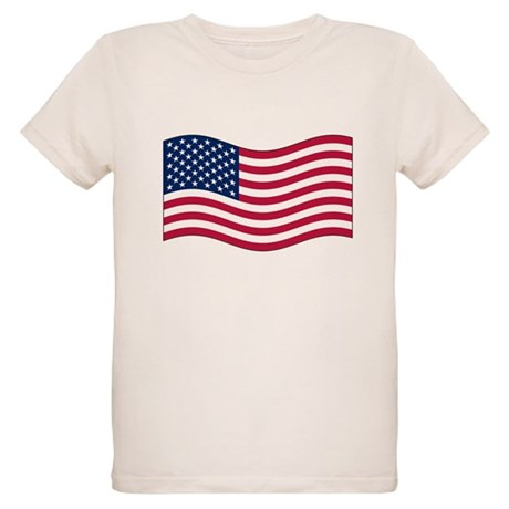 US Waving Flag Organic Kids T-Shirt