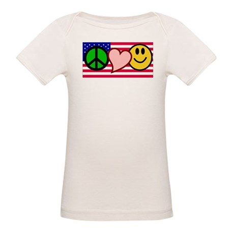 Peace Love Smile Organic Baby T-Shirt