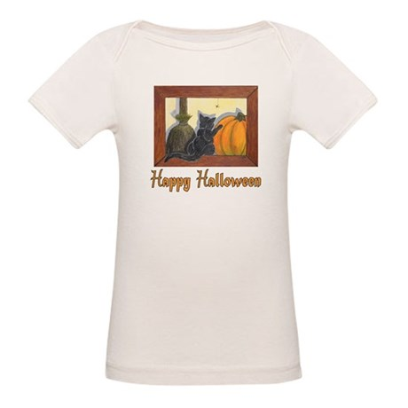 "Halloween Cat with ""Happy Hal Organic Baby T-"