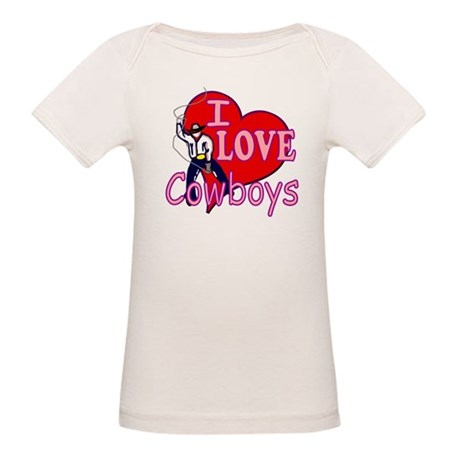 I Love Cowboys Organic Baby T-Shirt