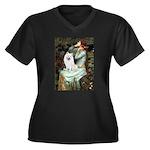 Ophelia / Eskimo Spitz #1 Women's Plus Size V-Neck