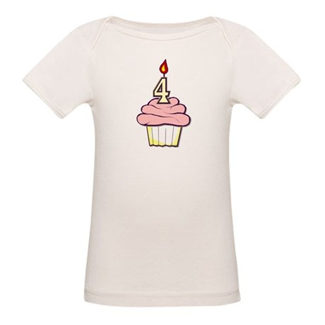 Girl Cupcake 4th Birthday Organic Baby T-Shirt
