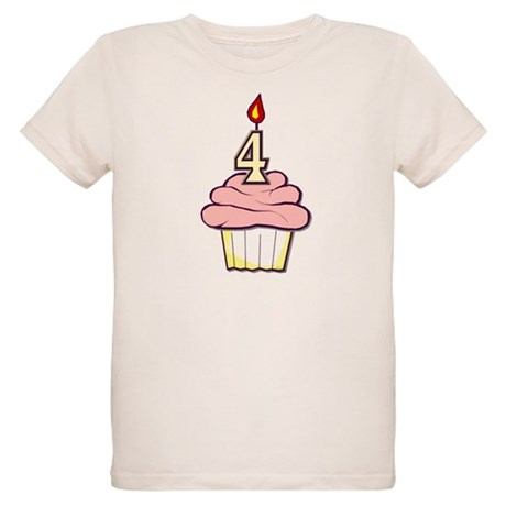 Girl Cupcake 4th Birthday Organic Kids T-Shirt