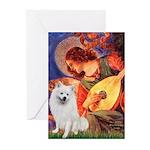 Mandolin / Eskimo Spitz #1 Greeting Cards (Pk of 1