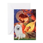 Mandolin / Eskimo Spitz #1 Greeting Cards (Pk of 2