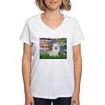 Lilies / Eskimo Spitz #1 Women's V-Neck T-Shirt