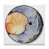 Watercolor Crescent Moon Tile Coaster