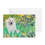 Irises / Eskimo Spitz #1 Greeting Cards (Pk of 10)