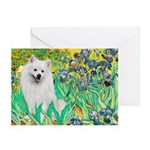 Irises / Eskimo Spitz #1 Greeting Cards (Pk of 20)