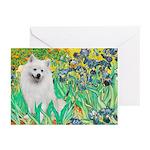 Irises / Eskimo Spitz #1 Greeting Cards (Pk of 20)