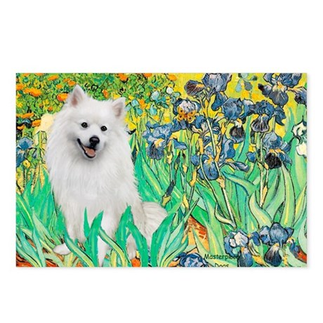 Irises / Eskimo Spitz #1 Postcards (Package of 8)