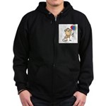 Monkey with Balloons Zip Hoodie (dark)