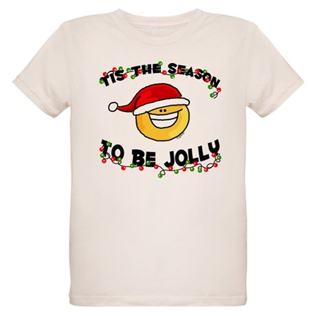 Jolly Christmas Santa Smiley Organic Kids T-Shirt
