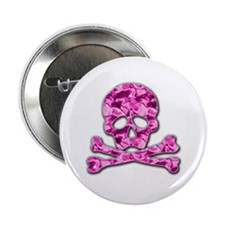 "Pink skull 2.25"" Button (10 pack)"