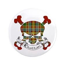 "Chattan Tartan Skull 3.5"" Button"