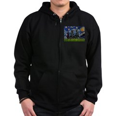 Starry / Two Flat Coated Ret Zip Hoodie (dark)
