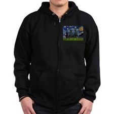 Starry / Two Flat Coated Ret Zip Hoodie