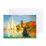 Sailboats / Flat Coated Retri Greeting Card