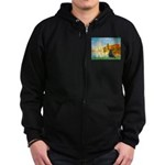 Sailboats / Flat Coated Retri Zip Hoodie (dark)