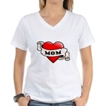 Mom Tattoo Heart Women's V-Neck T-Shirt