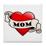 Mom Tattoo Heart Tile Coaster