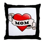Mom Tattoo Heart Throw Pillow