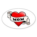 Mom Tattoo Heart Oval Sticker