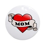 Mom Tattoo Heart Ornament (Round)