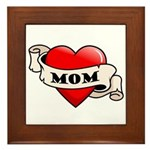 Mom Tattoo Heart Framed Tile