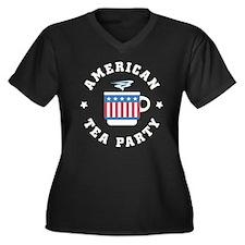American Tea Party Women's Plus Size V-Neck Dark T
