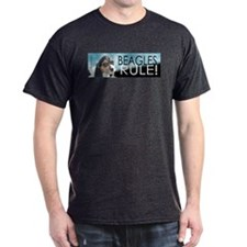 Tri-color Beagle on Black Black T-Shirt