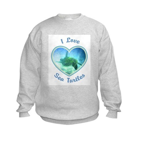 I Love Sea Turtles Kids Sweatshirt