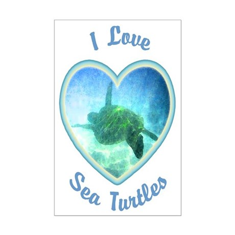 I Love Sea Turtles Mini Poster Print