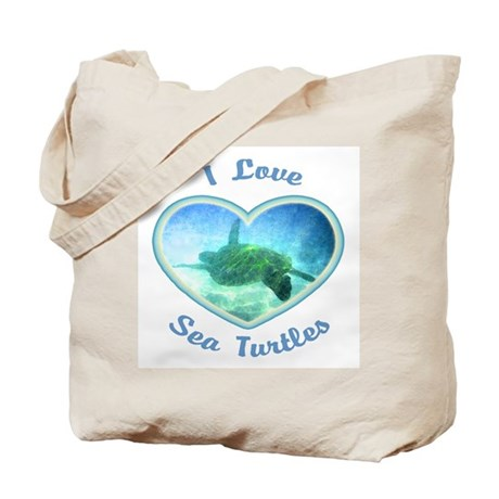 I Love Sea Turtles Tote Bag
