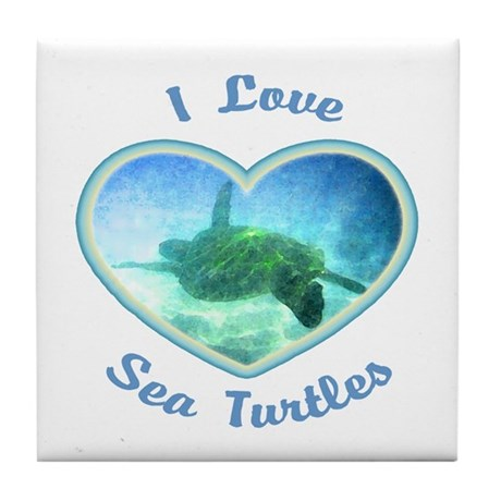 I Love Sea Turtles Tile Coaster