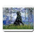 Lilies / Flat Coated Retrieve Mousepad