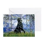 Lilies / Flat Coated Retrieve Greeting Card
