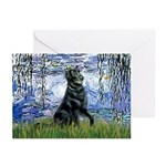 Lilies / Flat Coated Retrieve Greeting Cards (Pk o