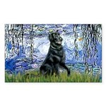 Lilies / Flat Coated Retrieve Sticker (Rectangle)