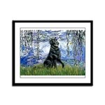 Lilies / Flat Coated Retrieve Framed Panel Print