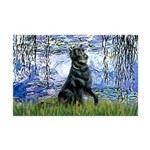 Lilies / Flat Coated Retrieve Mini Poster Print