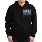 Lilies / Flat Coated Retrieve Zip Hoodie (dark)