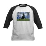 Lilies / Flat Coated Retrieve Kids Baseball Jersey