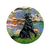 "Lilies / Flat Coated Retrieve 3.5"" Button (100 pac"