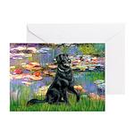 Lilies / Flat Coated Retrieve Greeting Cards (Pk o