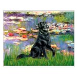 Lilies / Flat Coated Retrieve Small Poster