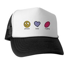 Peace Love Rugby Humor Trucker Hat